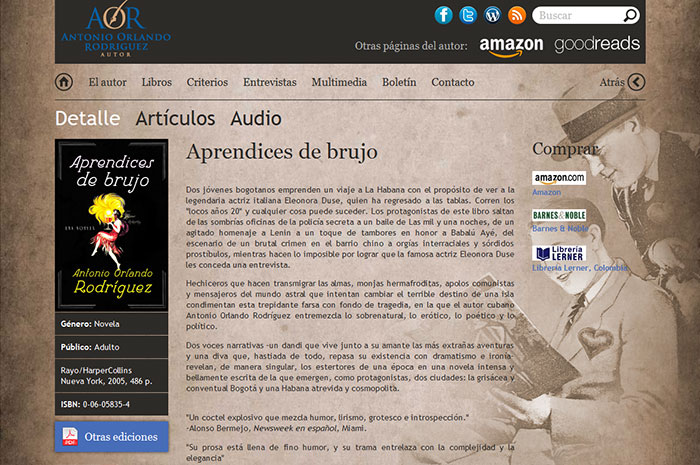 Website of Antonio Orlando Rodriguez ,Author