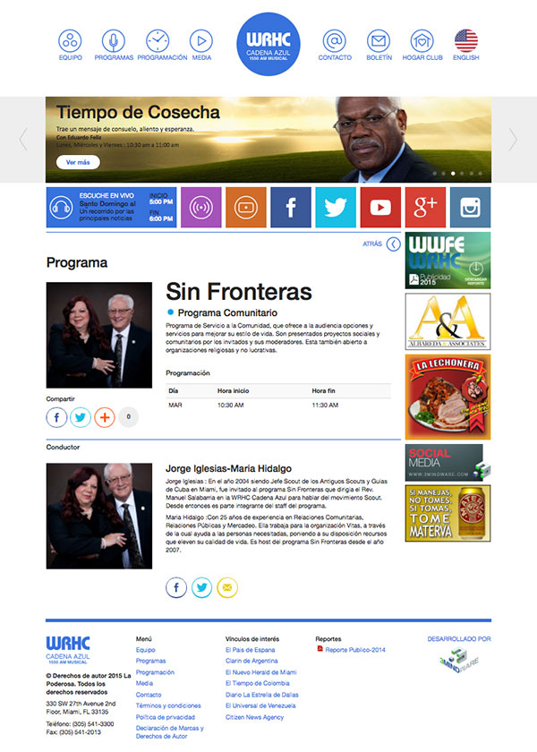 Website of Cadena Azul 1550 AM