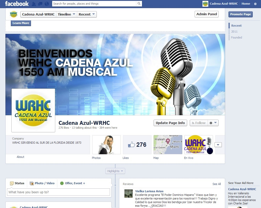 Social Media Design of Cadena Azul1550 AM